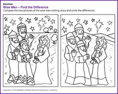 Find the Difference (Wise Men Puzzle)- Kids Korner - BibleWise Christmas Bible, Preschool Christmas, Kids Christmas, Christmas Sunday School Lessons, Sunday School Crafts, Church Activities, Bible Activities, Childrens Sermons, Christmas Worksheets