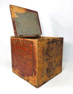 Vintage Antiqued Wooden Box Indian Tea Chest Crate