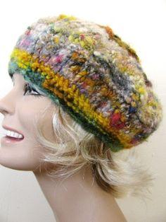 knit with scrap handspun yarn...try it in crochet