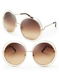 Chloé Carlina Round Oversized Sunglasses, 62mm - Oh so '70s, these oversized Chloé lookers lend instant glamour with transparent frames in a perfectly round silhouette.