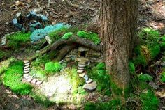 Fairy house in tree roots. Damn, I wish I had some trees around my house that were old enough to do things like this with!