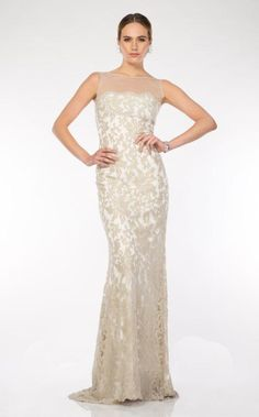 a167f14bc8 Full length gown with tulle kneckline in colour feather