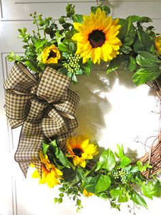 Fall Wreath for front Door, Sunflower Wreath, Farmhouse Wreath, Farmhouse Decor, Autumn Wreath, Fall Wreath, Large Wreath, Greenery Wreath by MaineMadeWreaths on Etsy