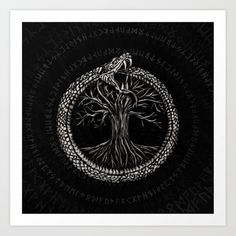 Ouroboros Tattoo, Framed Art Prints, Canvas Prints, Tree Of Life Art, Nordic Tattoo, Life Poster, Serpent, Viking Tattoos, Symbolic Tattoos