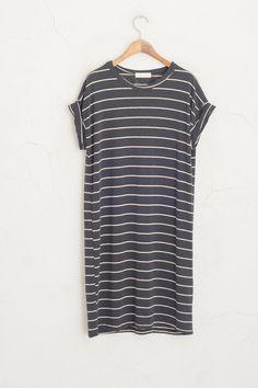 Olive - Roll Up Sleeve Stripe Jersey Dress, Black, £29.00 (http://www.oliveclothing.com/p-oliveunique-20150721-109-black-roll-up-sleeve-stripe-jersey-dress-black)