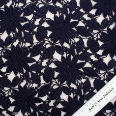 Buy Dark Navy Floral Guipure Lace (Lace Fabric) online and from our  dedicated fabric shop in London. Joel and Son are specialists in fabrics,  trimmings and ... 63909578abc