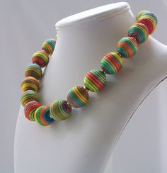 Necklace Bold and Bright beaded multi color