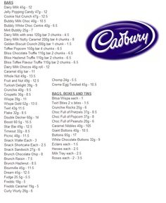 Slimming World Cadbury Values :) astuce recette minceur girl world world recipes world snacks Slimming World Syns List, Slimming World Sweets, Slimming World Syn Values, Slimming World Free, Slimming Word, Slimming World Recipes Syn Free, Slimming Eats, Slimming World Shopping List, Shopping Lists