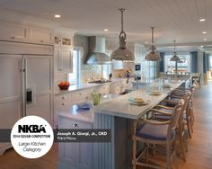 "2014 NKBA Design Competition Winner- Large Kitchen 3rd Place ""By the Serene Seaside"" Designed by Joseph A. Giorgi. Jr, CKD, Giorgi Kitchens & Designs, Wilmington, DE."