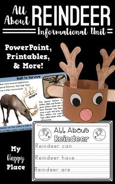 This reindeer unit includes an informational PowerPoint and many activities to get your students learning and writing about reindeer! non-fiction, kindergarten, first grade Kindergarten Writing, Kindergarten Activities, Classroom Activities, Activities For Kids, Winter Activities, Classroom Ideas, Literacy, Kindergarten Rocks, Preschool Christmas