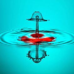 Making a splash: Water droplets frozen in high speed photographs by Markus Reugels. Shades Of Turquoise, Red Turquoise, Shades Of Blue, Teal, High Speed Photography, Water Art, Water Droplets, Red Bottoms, Tiffany Blue
