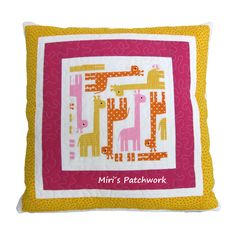 Patchwork cushion. Made to order cushion . Kids room decor. Quilted cushion