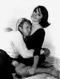 Love With The Proper Stranger Natalie Wood ✾ and Steve McQueen hugging in Portrait Premium Art Print