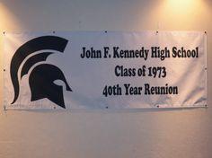 John F. Kennedy High School Class of 1973 Year Reunion The Reunion, High School Classes, 40 Years, Company Logo, Sign, Signs, Board