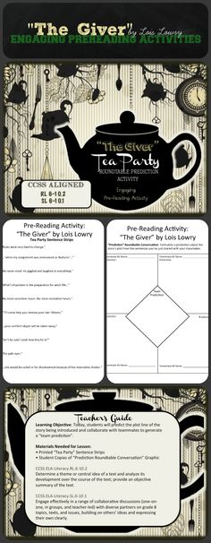 """Giver Pre-Reading Activities: 'Tea Party' + 'Roundtable Prediction' Two unique pre-reading activities to use before reading """"The Giver"""" by Lois Lowry!Two unique pre-reading activities to use before reading """"The Giver"""" by Lois Lowry! Middle School Literature, Teaching Literature, Middle School Reading, Middle School English, Teaching Reading, 7th Grade Ela, 6th Grade Reading, Sixth Grade, Predicting Activities"""