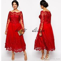 Plus Size Vintage Tea-length Prom Dresses with Long Sleeves 2018 Custom Make Red Lace Applique Bateau Neck Dubai Arabic Evening Gowns Mermaid Wedding Dress Long Sleeve Wedding Dresses Lace Wedding Dress Online with $136.0/Piece on Kazte's Store | DHgate.com