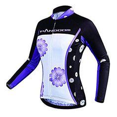 PANDOOM Women's Long Sleeve Fleece Thermal Cycling Jersey Bike Shirts Pro Team Cycling Jacket for Outdoor Sports M