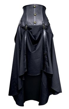 Long Black Real Leather Skirt   Steampunk Skirts   Steampunk Clothing. High waist <3