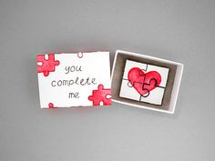 You complete me, matchbox card, love mail, love card, puzzle card, matchbox art, message box, perfect piece, boyfriend girlfriend gift Send a unique love card with this matchbox! The cover has the phrase you complete me and on the inside is a puzzle with red heart. The puzzle