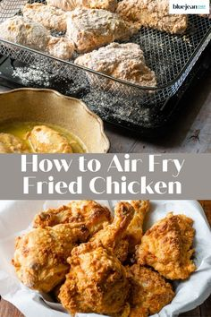Make amazing homemade fried chicken in your air fryer! Using your air fryer to make buttermilk fried chicken lets you enjoy one of your favorite fried foods without all the guilt or the mess of deep-frying. With this easy recipe you can use chicken thighs, drumsticks, wings, boneless breast, tenders or any combo you like for delicious juicy fried chicken. French Fried Onion Chicken, Homemade Fried Chicken, Air Fryer Fried Chicken, Making Fried Chicken, Buttermilk Fried Chicken, French Fried Onions, Appetizer Recipes, Appetizers, Boneless Wings