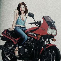 #ホンダ#CBX750F#1983年 当時は変なバイクって思った。 今見ると何かカッコいい❗ 欲しい( ̄ー ̄)
