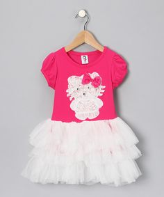 Here Kitty Kitty! Hot Pink & White Kitty Dress - Toddler & Girls by 2 Crystal Chicks on #zulily today!