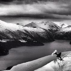 Norwegian legend Terje Haakonsen in Black & White Photo Frode Sandbech | TransWorld SNOWboarding