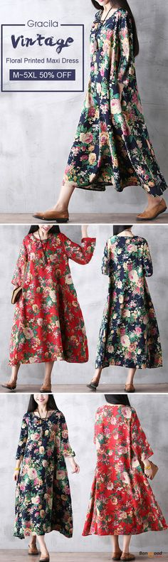 US$23.99 + Free shipping. Size: M~5XL. Color: Navy, Red. Fall in love with casual and vintage style! Gracila Floral Printed Loose Pocket Long Sleeve Women Maxi Dresses. #dresses #wedding #women #home