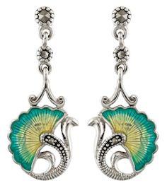 Marcasite and Cloisonne Enamel Drop Stud Earrings