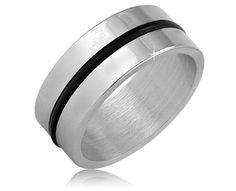$9.99 - Stainless Steel Black Rubber Stripe Men's Ring