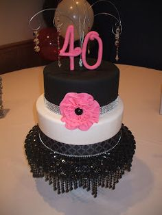 Hot Pink and Black Cake for a 40th! Perfect (well, not quite, but I like the beaded stand cover!)