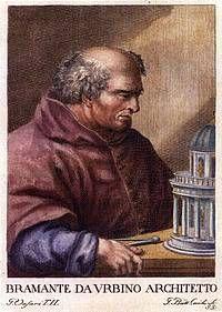 Donato Bramante (1444 –1514) was an Italian architect, who introduced the Early Renaissance style to Milan and the High Renaissance style to Rome, where he built the Tempieto.