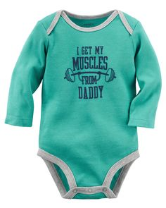 Muscles From Daddy Collectible Bodysuit | Carters.com Haha this what I used to surprise Erik