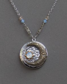 Silver Locket Necklace . Blue Moon And Stars . by BlissDayDesigns, $34.00