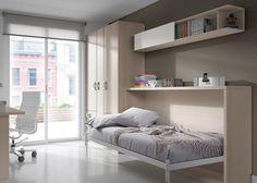 #Habitación #juvenil Niu práctica y funcional, con cama a abatible y estantería corredera, gran zona de estudio, escritorio, mesita con ruedas de ...