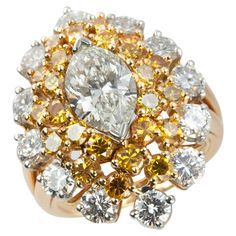 Oscar Heyman Marquise Diamond and Yellow Diamond Cocktail Ring