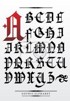 Gothic písmo abeceda s dekorací na obrazech myloview. Nejlepší kvality fototapety, nálepky, obrazy, plakáty. Chcete si vyzdobit svůj domov? Pouze s myloview!