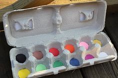 Send your kids on a color treasure hunt using an old egg carton