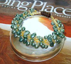 Beaded Pearl Bracelet copper magnetic clasp unique by moonstonemp, $68.00