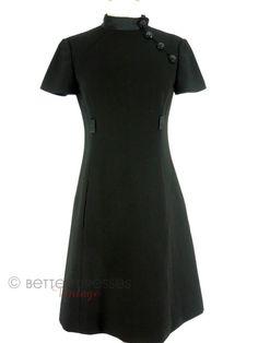 60s Mod Little Black Shift Dress by Adele Simpson - sm by Better Dresses Vintage
