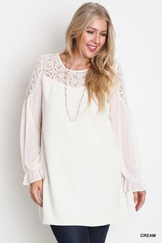 Geometric Lace Long Sleeve Dress - Cream