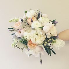 White bouquet with touches of garden roses and lavender