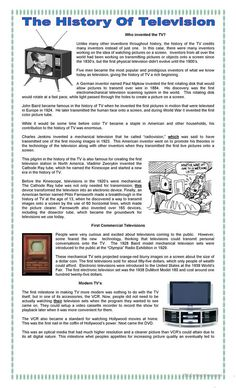 Interesting reading to know how was the television invented, with reading comprehension exercises such synonyms, opposites and questions on the text. (Key included) I hope you like it! Comprehension Exercises, Reading Comprehension Activities, Reading Worksheets, Reading Fluency, Reading Passages, Reading Skills, Teaching Reading, Printable Worksheets, Listening Activities