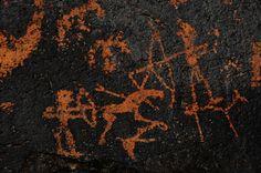 "Petroglyph depicting a hunting scene. ""Bichigt Khad"" prehistoric site in Gobi Gurvan Saikhan National Park, Mongolian Gobi. www.stonehorsemongolia.com"