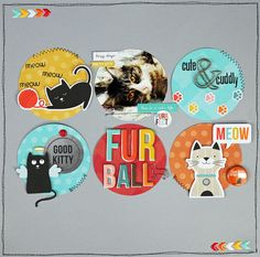 Fur Ball - Scrapbook.com - Use the circle or ball theme for the title and for the shape of photos and patterned paper - so cute!