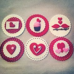 Valentine's Day Edible Fondant Cupcake/Cookie Toppers on Etsy, $15.95