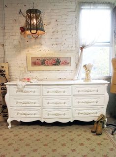 Painted Cottage Chic Shabby White French by paintedcottages, $695.00