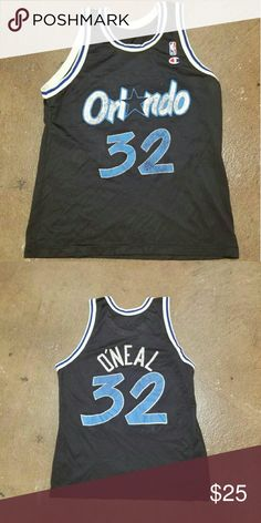 Vintage Shaq Vintage Shaquille O'Neal Orlando Magic jersey played with them until 96 15 time all star 4 time  champion hall of fame!!!! Its has a lot of love on it with more to give. Tags have been tore off and is showing signs of wear more of a show piece. Champion Shirts