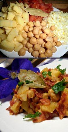 Ingredients • 3 potatoes • 1 tin chickpeas • 1 small onion • 1 clove of garlic • 2 tomatoes • 150 gr chorizo • 1 bay leaf • parsley • freshly ground pepper •  sea salt  Method: • Cut onion, garlic and tomatoes. • Cut the potatoes into s