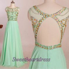 Mint prom dresses long, open back ball gown, 2016 round neck chiffon long party dress for teens sweetheartdress.s... #coniefox #2016prom                                                                                                                                                                                 Más